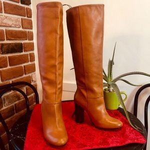 Joe Fresh Tan Brown Leather Stovepipe Heeled Boot